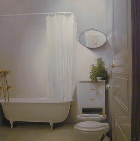 Alberto Perezsan Oil on Wood Barcelona Amsterdam Madrid Milan realism art painting Bathroom