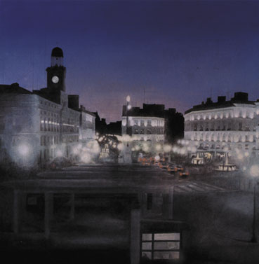 Alberto Perezsan Oil on Wood Barcelona Amsterdam Madrid Milan realism art painting sol puerta del sol