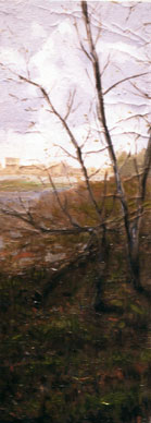 Fast painting in the surroundings of the Fine Arts University Oil on Wood 60x20