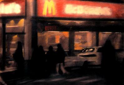 'McDonalds at Gran Vía' Pastel and charcoal 50x70