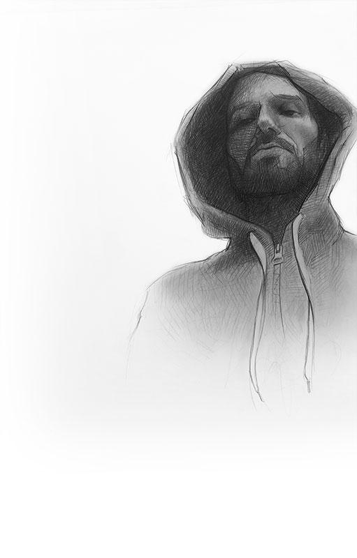 alberto perezsan drawings charcoal pen realism selfportrait