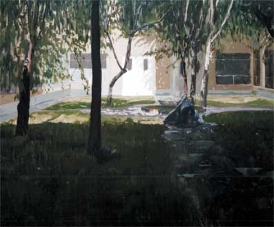 'Patio de la facultad de BBAA' Fast painting at class Oil on Wood 70x100